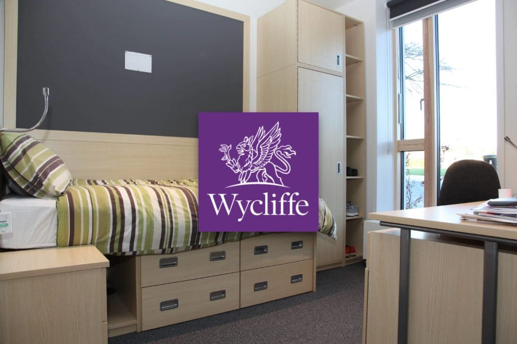 Boarding room bed set. Wycliffe logo square overlaid in the centre of the image